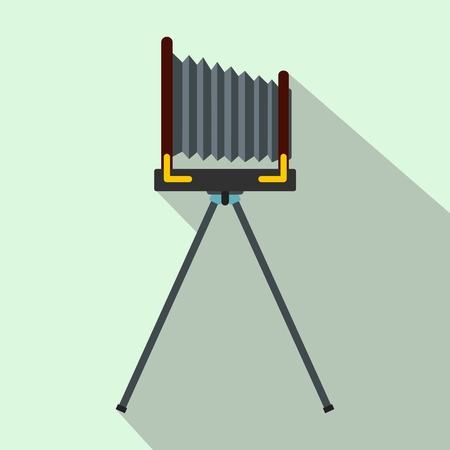 old photo: Old photo camera with tripod icon in flat style on a light blue background Illustration