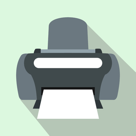 photo printer: Photo printer icon in flat style on a light blue background