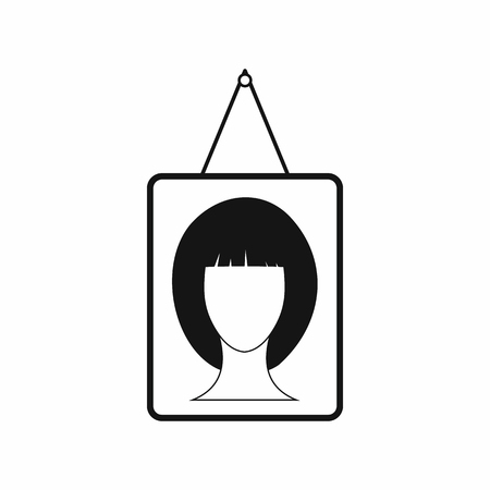 hanging woman: Portrait of a woman in a frame icon in simple style on a white background