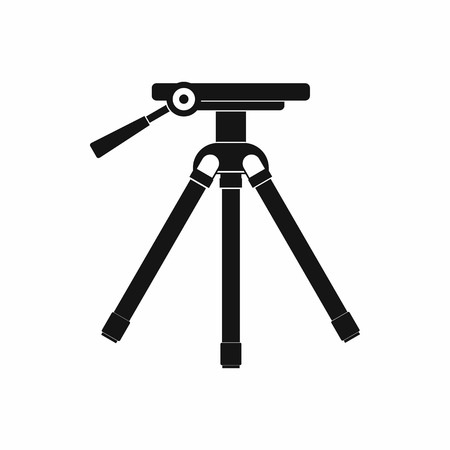 tripod: Tripod icon in simple style on a white background