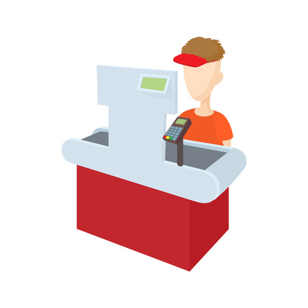 departmental: Cashier behind her cash register icon in cartoon style on a white background