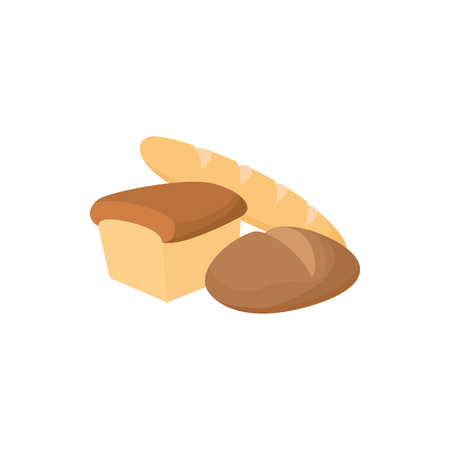 assortment: Assortment of bread icon in cartoon style on a white background Illustration