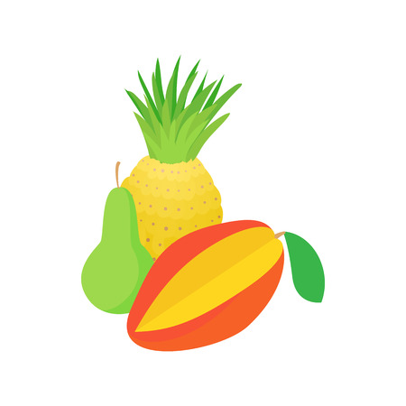 assortment: Assortment of fruit icon in cartoon style on a white background Illustration
