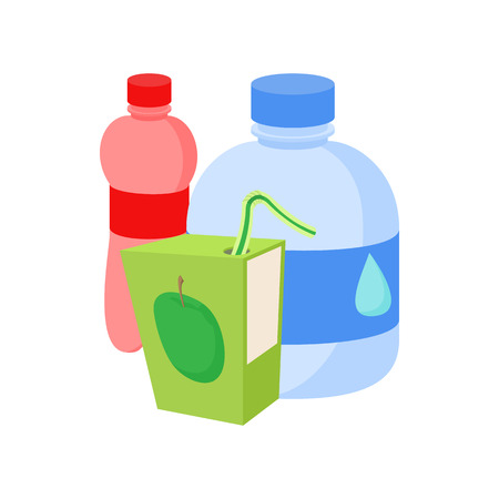 assortment: Assortment of beverages icon in cartoon style on a white background Illustration