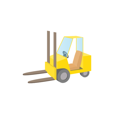 stockpile: Forklift truck icon in cartoon style on a white background