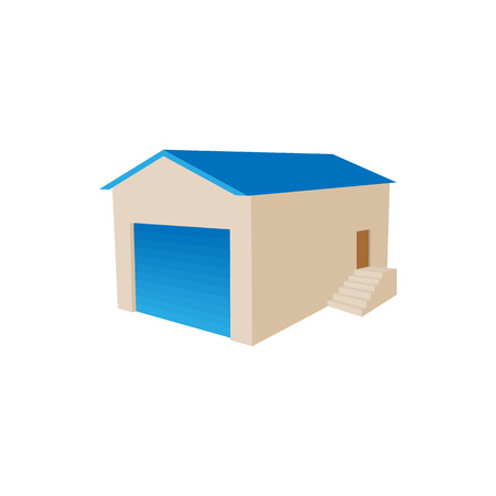 transportation facilities: Warehouse building icon in cartoon style on a white background
