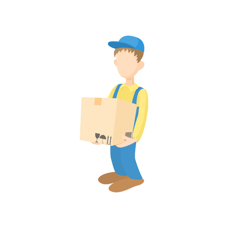 cardbox: Delivery man holding and carrying cardbox icon in cartoon style on a white background Illustration