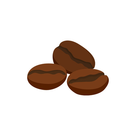 Coffee beans icon in cartoon style on a white background Vector Illustration