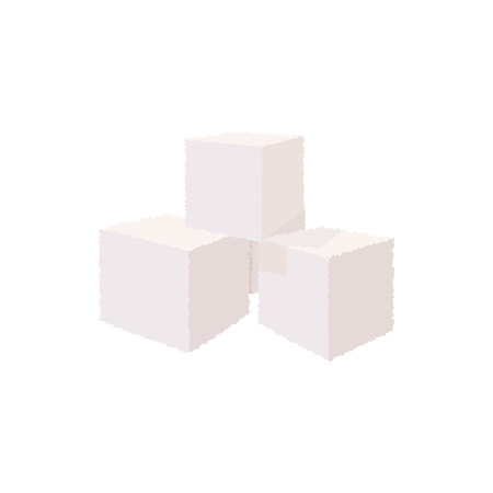 sugar cube: Cubes of sugar icon in cartoon style on a white background
