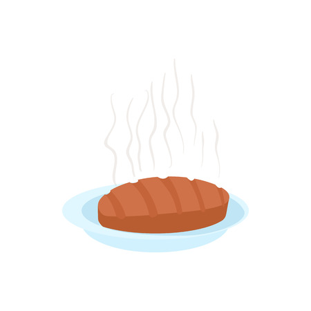 Steak icon in cartoon style on a white background