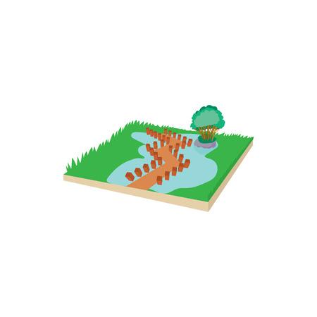 Puente de madera en un icono de lago de montaña en estilo de dibujos animados sobre un fondo blanco