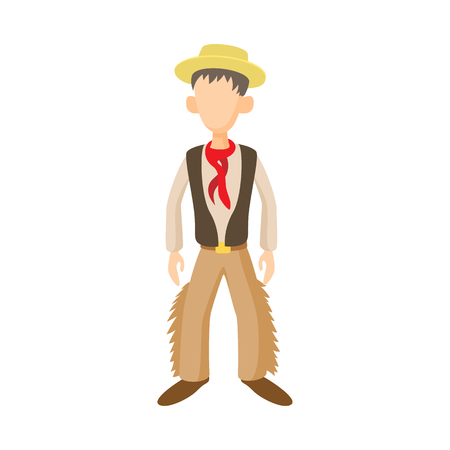 gaucho: Man in traditional costume of Argentine icon in cartoon style on a white background