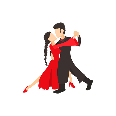 hot girl legs: Tango dancers icon in cartoon style on a white background