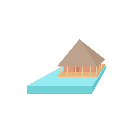 overflow: Floating house icon in cartoon style on a white background Illustration