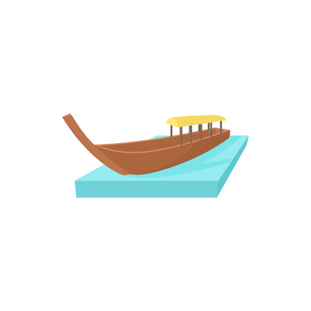 Boat icon in cartoon style on a white background