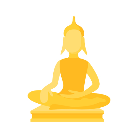 buddism: Buddha statue icon in cartoon style on a white background