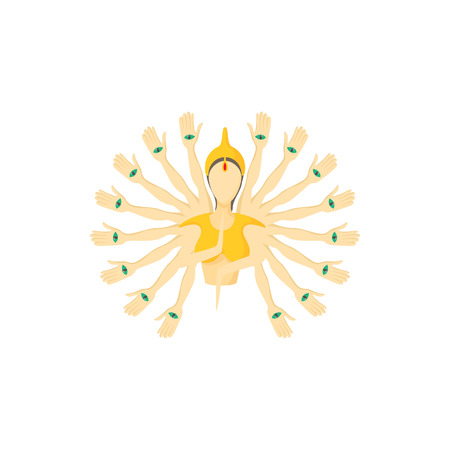 nirvana: Multi armed buddha icon in cartoon style on a white background