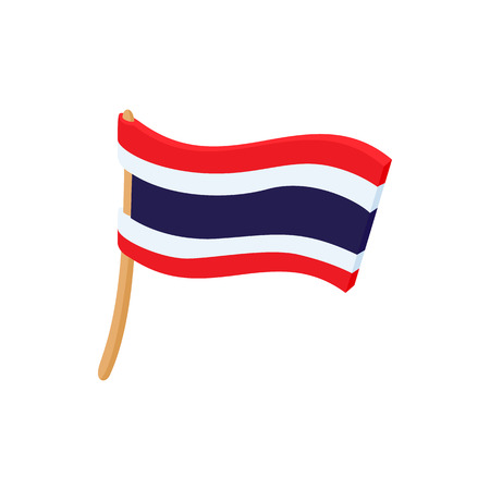 thai silk: Flag of Thailand icon in cartoon style on a white background