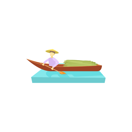 sedge: Man in a boat icon in cartoon style on a white background Illustration