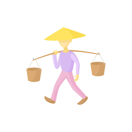 indonesia culture: Man in a conical hat carries buckets icon in cartoon style on a white background