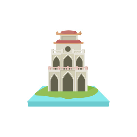 buddhist temple: Buddhist temple, pagoda icon in cartoon style on a white background