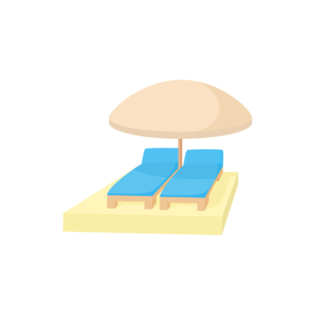 under the bed: Chaise longues under umbrella icon in cartoon style on a white background Illustration