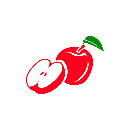 half apple: Red apple with leaf and half of apple icon in simple style isolated on white background