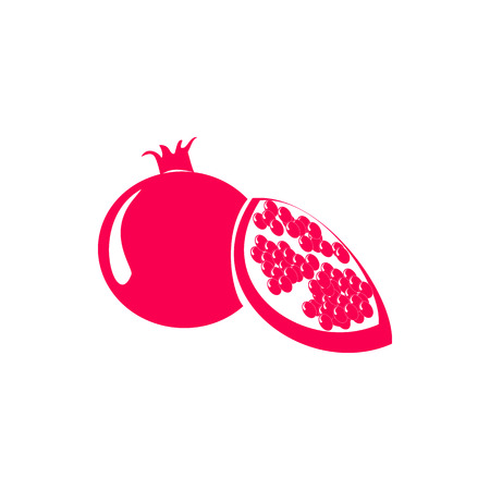 Red pomegranate or garnet icon in simple style isolated on white background