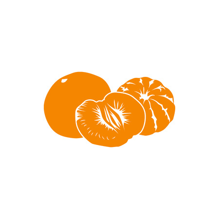 two and a half: Two and half orange tangerines icon in simple style isolated on white background