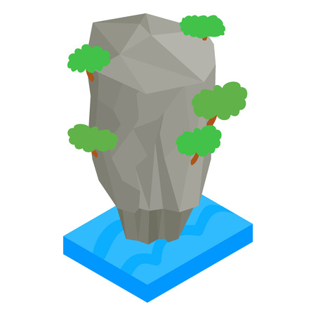 Thailand island icon in isometric 3d style isolated on white background