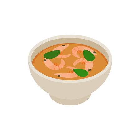 main dishes: Tom yum soup icon in isometric 3d style isolated on white background Illustration