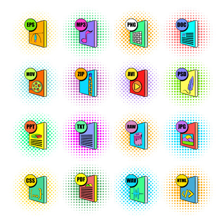 end user: File format icons set in pop-art style isolated on white background