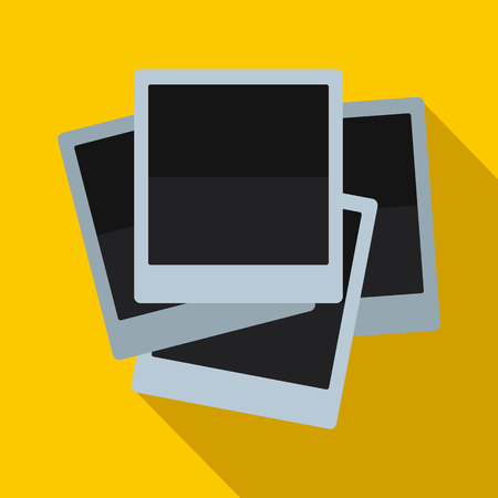 yellow photo: Photo frames icon in flat style on yellow background Illustration
