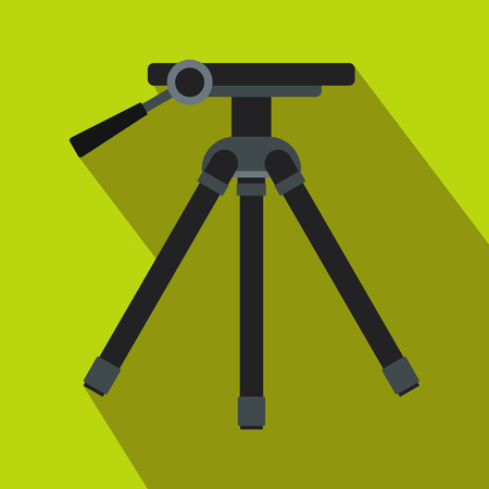 manual test equipment: Tripod icon in flat style on light green background