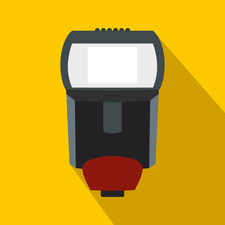 landscape mode: Remote flash icon in flat style on yellow background