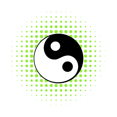 yang style: Ying yang icon in comics style on a white background