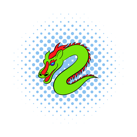 festival scales: Green chinese dragon icon in comics style on a white background