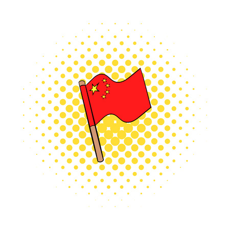 china icon: Flag of China icon in comics style on a white background