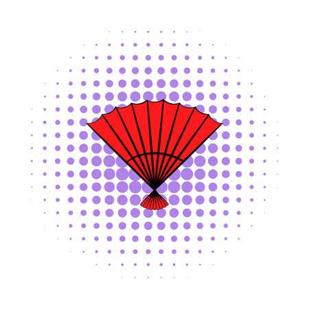 red  open: Red open hand fan icon in comics style on a white background Illustration