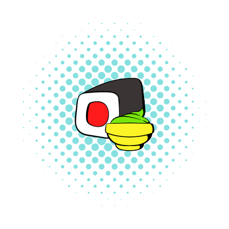 sushi roll: Sushi roll icon in comics style on a white background Illustration