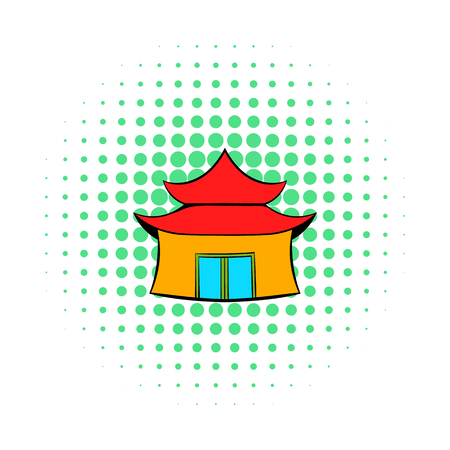 royal person: Pagoda icon in comics style on a white background Illustration