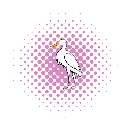 wader: White crane icon in comics style on a white background