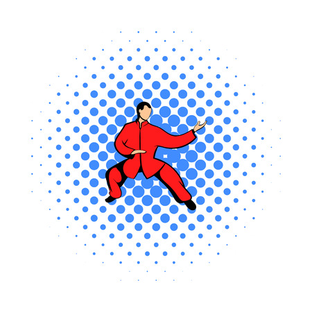 wushu: Wushu fighter icon in comics style on a white background