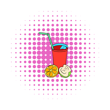 sangria: Glass of sangria icon in comics style on a white background Illustration