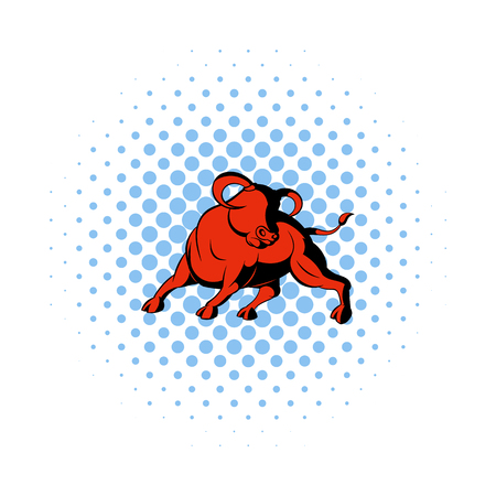 corrida: Bull icon in comics style on a white background