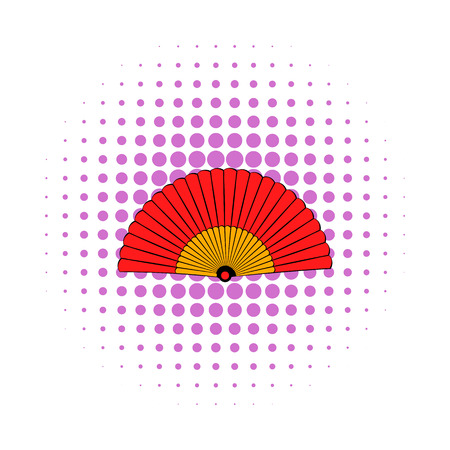 spanish fan: Spanish fan icon in comics style on a white background Illustration