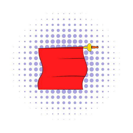 bullfight: Red cape of bullfighter icon in comics style on a white background