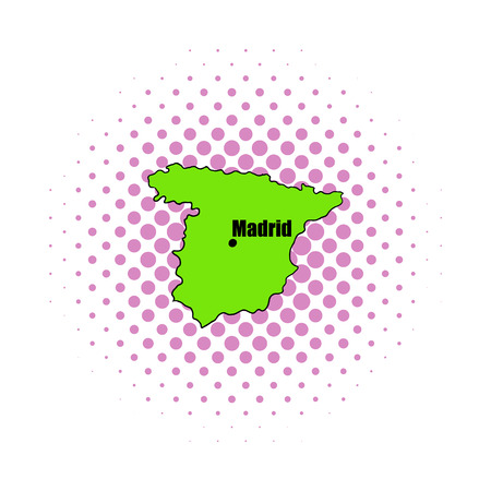 graphical chart: Spanish map icon in comics style on a white background Illustration