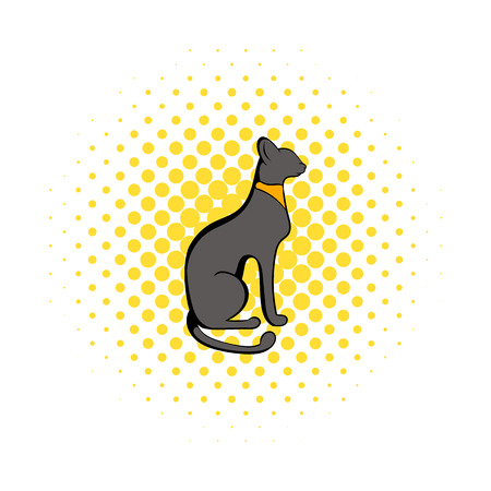 cat goddess: Egyptian cat icon in comics style on a white background