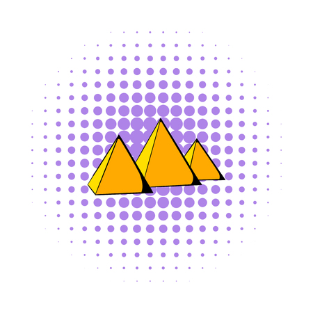 Egyptian pyramids icon in comics style on a white background
